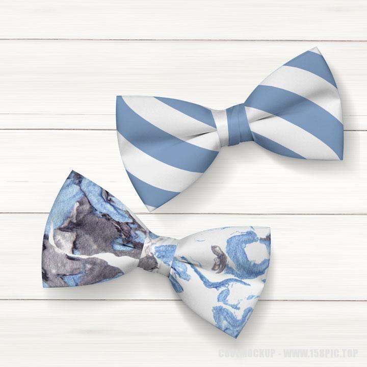 蓝白条纹领结蝴蝶结样机