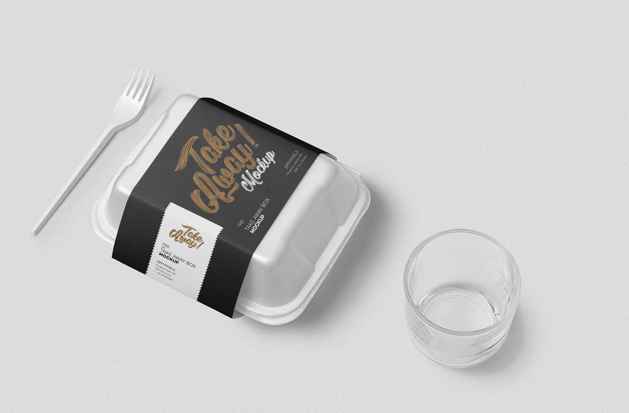 3cfbd84d589c482 - 方形餐盒贴纸包装样机