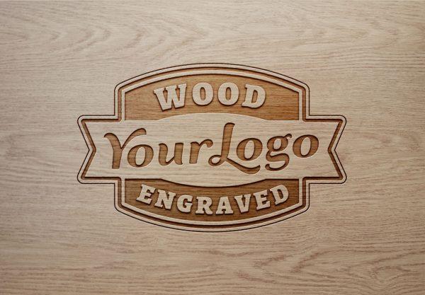 logo样机木板雕刻