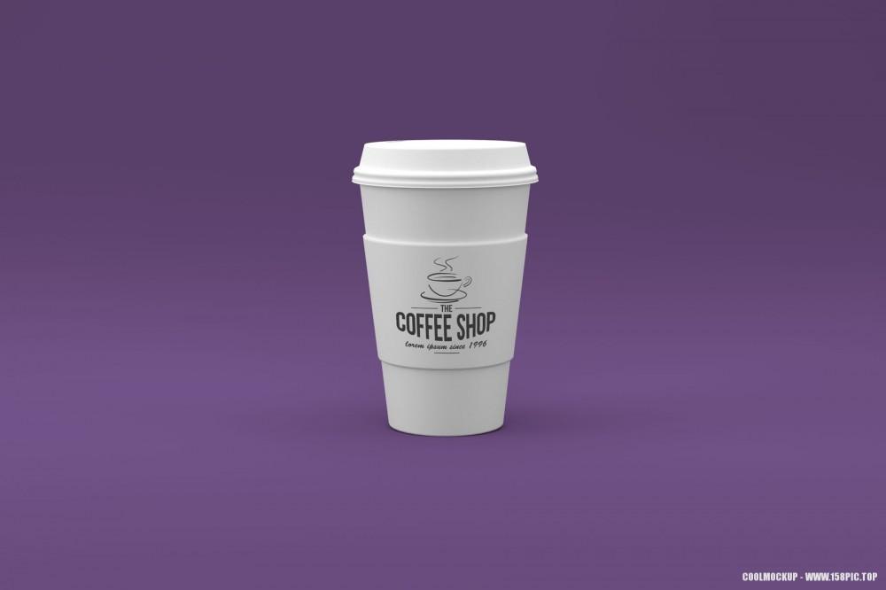 白色杯子一次性杯子和杯套样机