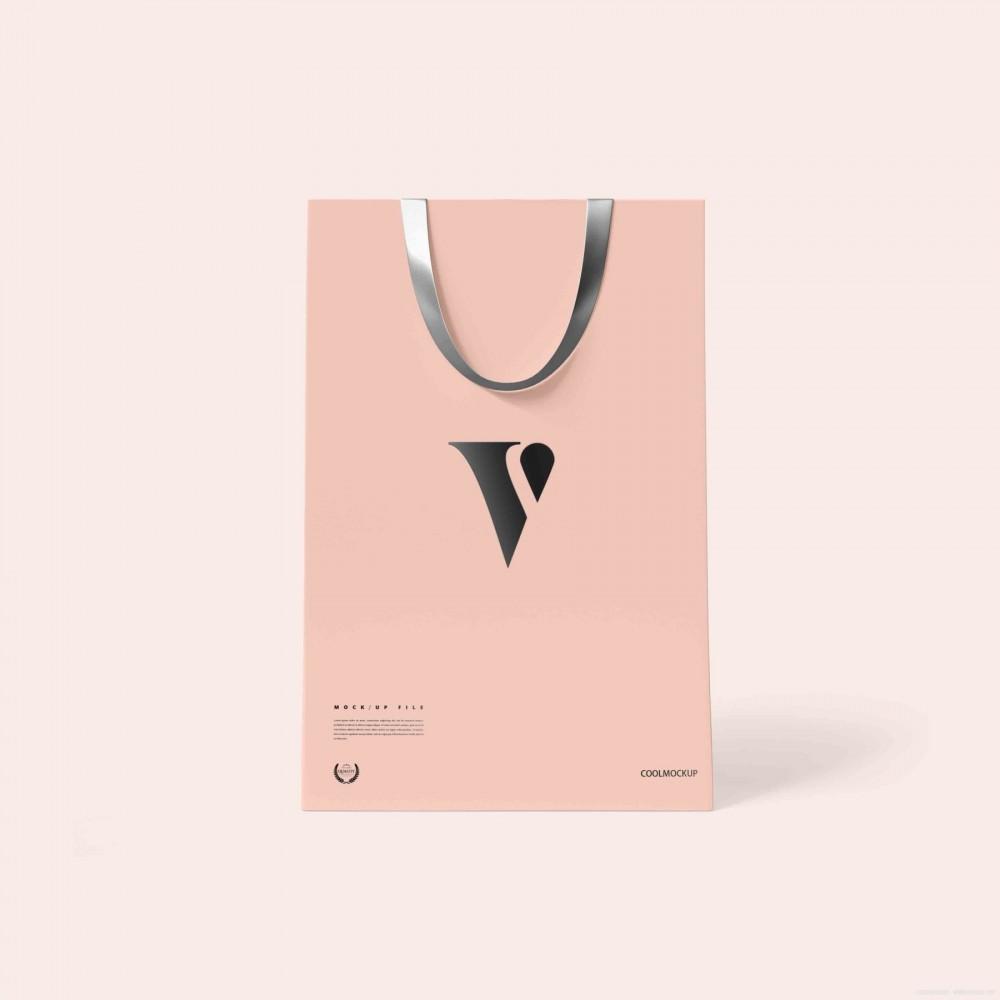 粉色简约纸袋手提袋