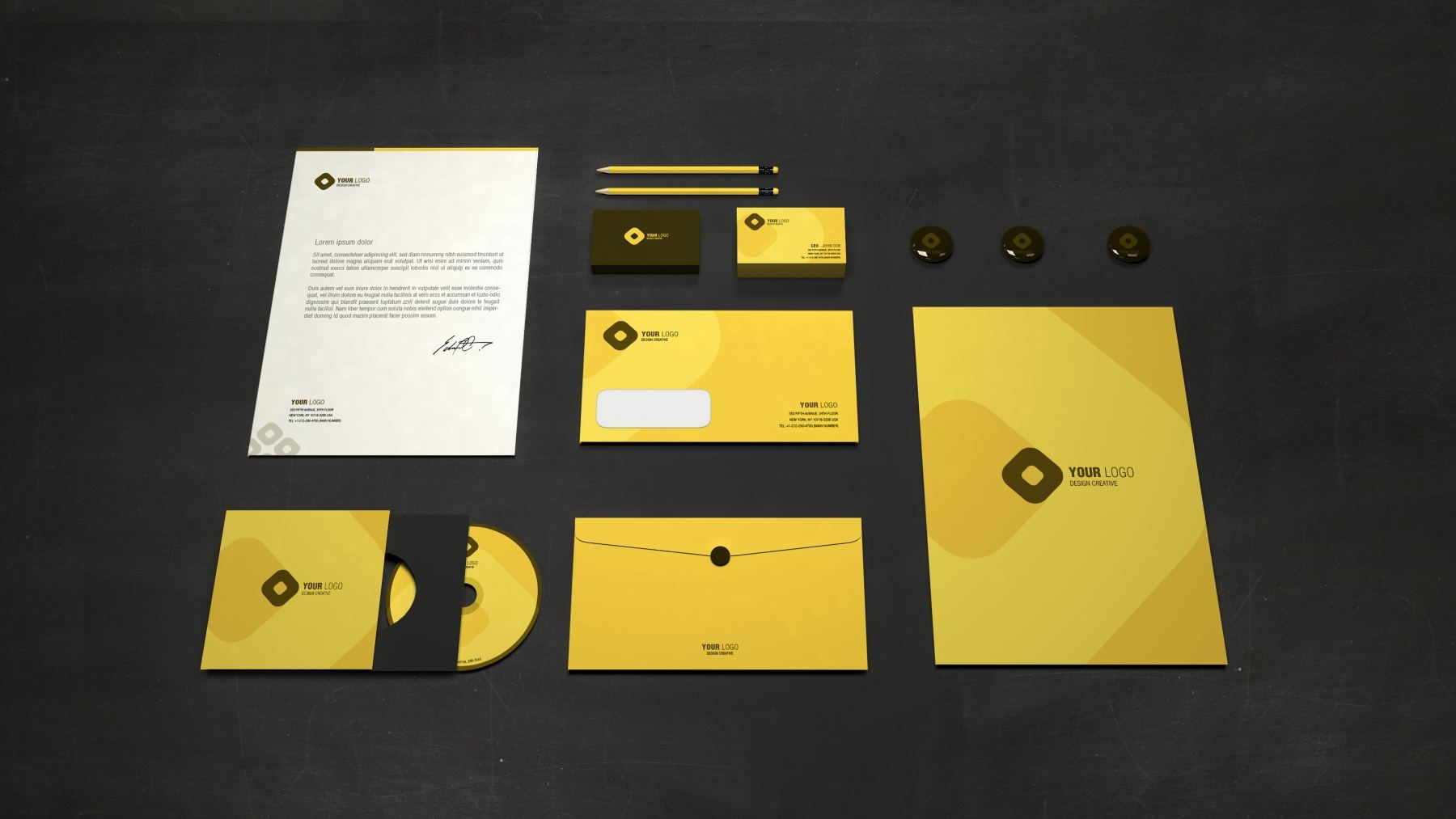1569733362 2a0139e75384d9d - 黄色系简约纯色办公企业vi样机